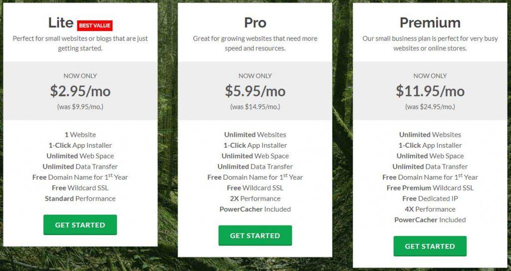 GreenGeeks pricing